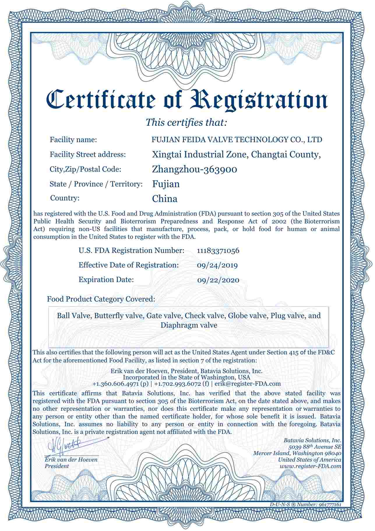 U.S Food and Drug Adminstration(FDA) Certificate